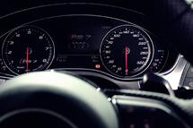 The clean dashboard of a fast car