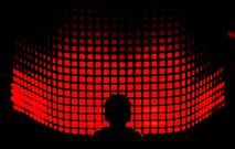 Person standing in front of LED lighting which resembles sound